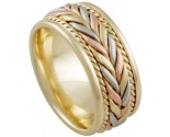 Tri Color Gold Hand Braided Wedding Band 8mm TC-879