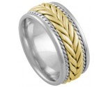 Two Tone Gold Hand Braided Wedding Band 8mm TT-879