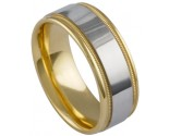 Two Tone Gold Designer Wedding Band 8.5mm TT-881