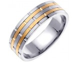 Two Tone Gold Brick Wedding Band 6.5mm TT-951