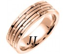 Rose Gold Brick Wedding Band 6.5mm RG-951