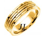 Yellow Gold Brick Wedding Band 6.5mm YG-951