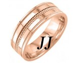 Rose Gold Dual Blade Wedding Band 7mm RG-952