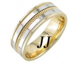 Two Tone Gold Dual Blade Wedding Band 7mm TT-952A