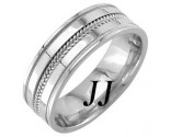 White Gold Dual Blade Wedding Band 7mm WG-952