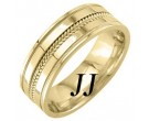 Yellow Gold Dual Blade Wedding Band 7mm YG-952