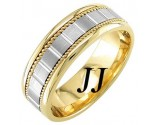 Two Tone Gold Block Braided Wedding Band 7mm TT-953A
