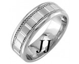 White Gold Block Braided Wedding Band 7mm WG-953