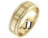 Yellow Gold Block Braided Wedding Band 7mm YG-953
