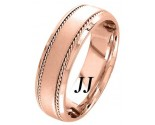 Rose Gold Sandblasted Wedding Band 7.0mm RG-954
