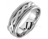 White Gold Snake Twist Wedding Band 8mm WG-956