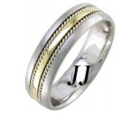 Two Tone Gold Single Blade Wedding Band 6mm TT-957A