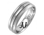 White Gold Single Blade Wedding Band 6mm WG-957