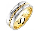 Two Tone Gold Single Twist Wedding Band 7mm TT-958A