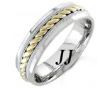 Two Tone Gold Rope Twisted Wedding Band 6mm TT-959A