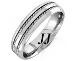 White Gold Twin Braided Wedding Band 6mm WG-962