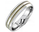 Two Tone Gold Twin Braided Wedding Band 6mm TT-962A