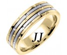 Two Tone Gold Brick Wedding Band 6.5mm TT-963