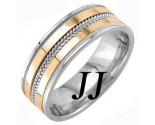 Two Tone Gold Dual Blade Wedding Band 7mm TT-952B