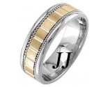 Two Tone Gold Block Braided Wedding Band 7mm TT-953B