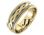 Two Tone Gold Snake Twist Wedding Band 8mm TT-956B