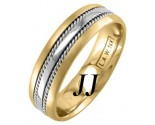 Two Tone Gold Single Blade Wedding Band 6mm TT-957B