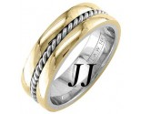 Two Tone Gold Single Twist Wedding Band 7mm TT-958B