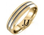 Two Tone Gold Twin Braided Wedding Band 6mm TT-962B