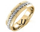 Two Tone Gold Rope Twisted Wedding Band 6mm TT-959B