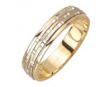 Two Tone Gold Brick Wedding Band 5mm TT-973