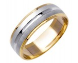 Two Tone Gold Designer Wedding Band 6.5mm TT-976