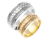 Gold Hand Braided Wedding Band Set 8mm GT-151S