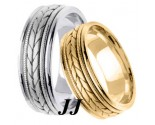 Gold Hand Braided Wedding Band Set 7mm GT-355S