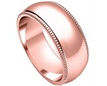 10mm Milgrain Comfort-Fit Plain Rose Gold Wedding Band PLNRMCB-10mm