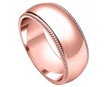 8mm Milgrain Plain Rose Gold Wedding Band PLNRMB-8mm