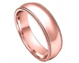 6mm Milgrain Comfort-Fit Plain Rose Gold Wedding Band PLNRMCB-6mm