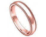 4mm Milgrain Comfort-Fit Plain Rose Gold Wedding Band PLNRMCB-4mm