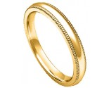 3mm Milgrain Comfort-Fit Plain Yellow Gold Wedding Band PLNYMCB-3mm