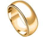 10mm Milgrain Comfort-Fit Plain Yellow Gold Wedding Band PLNYMCB-10mm