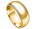 8mm Milgrain Comfort-Fit Plain Yellow Gold Wedding Band PLNYMCB-8mm