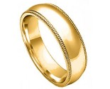 7mm Milgrain Comfort-Fit Plain Yellow Gold Wedding Band PLNYMCB-7mm