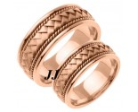 Rose Gold Hand Braided Wedding Band Set 8mm RG-161S