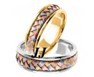 Tri Color Gold Hand Braided Wedding Band Set 7mm TC-357ES