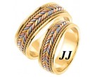 Tri Color Gold Hand Braided Wedding Band Set 7mm TC-553S