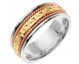 Tri-Color Gold Greek Key Wedding Band 8mm TC-558A