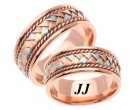 Tri Color Gold Hand Braided Wedding Band Set 8mm TC-159S