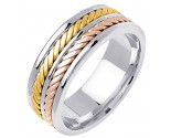 Tri Color Gold Hand Braided Wedding Band 7.5mm TC-163A