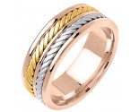 Tri Color Gold Hand Braided Wedding Band 7.5mm TC-163B