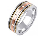 Tri Color Gold Hand Braided Wedding Band 8mm TC-353A