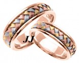 Tri Color Gold Hand Braided Wedding Band Set 7mm TC-357CS